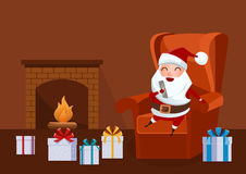 Merry Christmas. Santa Claus sitting in armchair near fireplace in living room and holding smartphone. Christmas background Cartoon Vector Illustration Royalty Free Stock Images