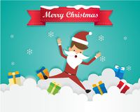 Merry Christmas Santa Claus On Sky with Gift Box, Greeting Card Background Illustration Paper Art Stock Photography