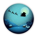 Merry Christmas ,Santa Claus on the sky paper art and digital craft style royalty free stock images