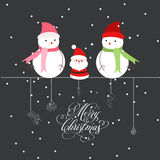 Merry christmas with santa claus and snowman Stock Photography