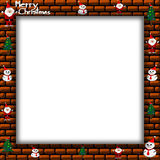 Merry Christmas Santa Claus, snowman and christmas tree on Picture frame, illustration Stock Photography