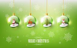 Merry Christmas with Santa Claus, Snowman and Reindeer in Christmas ball, Hanging Christmas ball on green Snowflake background Stock Photos