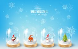 Merry Christmas with Santa Claus, Snowman and Reindeer in glass dome terrarium, blue Snowflake background, vector illustration Royalty Free Stock Image