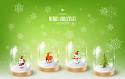 Merry Christmas with Santa Claus, Snowman and Reindeer in glass dome terrarium, green Snowflake background, vector illustration Stock Photo