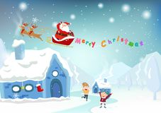 Merry Christmas, Santa Claus surprise gift for kids, cute cartoo stock illustration