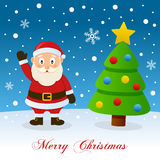 Merry Christmas with Santa Claus and Tree Royalty Free Stock Photography