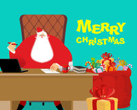 Merry Christmas. Santa Claus at work. Big red bag with gifts for Stock Images