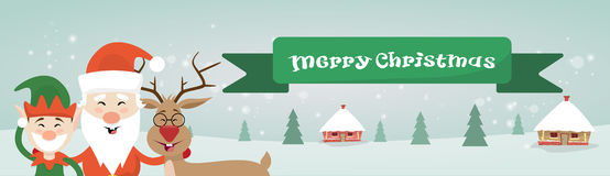 Merry Christmas Santa Clause Reindeer Elf Character Over Winter Snow House Village Poster Greeting Card. Flat Vector Illustration Stock Photography