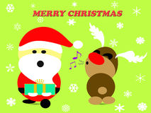 Merry Christmas with Santa Clause and Reindeer on green background Royalty Free Stock Photography