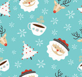 Merry Christmas santa deer winter seamless pattern. Merry Christmas seamless pattern background, cute holiday decoration in retro style. Includes reindeer, santa Stock Images