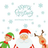 Merry Christmas and Santa with elf and reindeer on a white backg Royalty Free Stock Photo