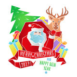 Merry Christmas. Santa with full bag. Happy New Year. Vector. Merry Christmas. Santa Claus with a bag of gifts, Christmas tree and deer with ribbon and greeting Royalty Free Illustration