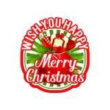 Merry Christmas Santa gift bag holiday vector icon Stock Photos