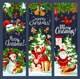 Merry Christmas Santa gifts tree vector banners. Merry Christmas greeting banners of Santa gift bag at Christmas tree and snowman on sleigh. Vector Xmas bell on Stock Photos