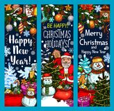 Merry Christmas Santa gifts vector sketch banners Stock Images