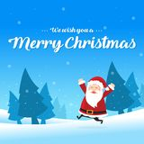 Merry Christmas with Santa greeting card. Vector illustration Royalty Free Stock Photo