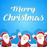 Merry Christmas with Santa greeting card. Vector illustration Stock Photo