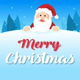 Merry Christmas with Santa greeting card. Vector illustration Royalty Free Stock Photography