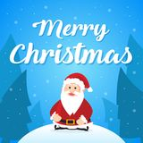 Merry Christmas with Santa greeting card. Vector illustration Royalty Free Stock Images