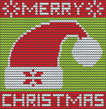 Merry Christmas with santa hat made of wool Royalty Free Stock Photos