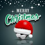 Merry Christmas, Santa hat on soccer ball design