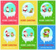 Merry Christmas Santa Helper Vector Illustration. Merry Christmas and happy New Year, Santa and helper jumping, riding on sled, playing trumpet and drums, Claus Royalty Free Stock Images