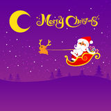 022-Merry Christmas santa and night background 002. Christmas santa and deer with christmas text on the night background,  illustration Royalty Free Stock Images
