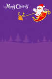 021-Merry Christmas santa and night background. Christmas santa and deer with christmas text on the night background, vector illustration Royalty Free Stock Image