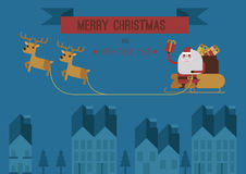Merry Christmas Santa and raindeers blue background  eps 10 Stock Images