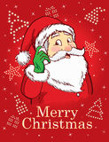 Merry Christmas and Santa. Santa on a red background Royalty Free Stock Photo