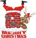 Merry christmas - santa and reindeer Stock Image