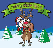Merry christmas - santa and reindeer Royalty Free Stock Photos