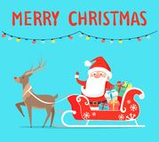 Merry Christmas Santa with Reindeer on Sledge. With presents decorated by bows. Vector illustration xmas congratulations on light blue background Royalty Free Stock Photography