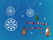 Merry christmas Reindeer and Santa Christmas characters  illustration Stock Image