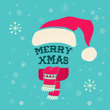 Merry Christmas - Santa's knitted hat with lettering Royalty Free Stock Photos