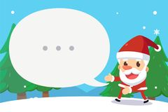 Merry Christmas. Santa say a word in the bubble. Background Stock Image