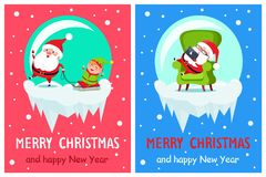 Merry Christmas Santa Set Vector Illustration. Merry Christmas Santa Claus and elf sitting on sleds, winter character asleep in armchair with laptop , vector Stock Image