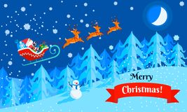 Merry Christmas santa sleigh concept banner, flat style stock illustration