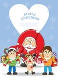 Merry Christmas Santa, Snowman, Reindeer Cartoon. Stock Photo
