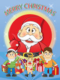 Merry Christmas Santa, Snowman, Reindeer Cartoon. Royalty Free Stock Image