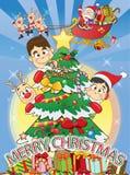 Merry Christmas Santa, Snowman, Reindeer Cartoon. Stock Photos