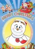 Merry Christmas Santa, Snowman, Reindeer Cartoon. Royalty Free Stock Photography