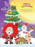 Merry Christmas Santa, Snowman, Reindeer Cartoon. Stock Images