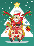 Merry Christmas Santa, Snowman, Reindeer Cartoon. Royalty Free Stock Photo
