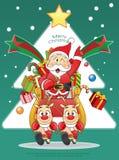 Merry Christmas Santa, Snowman, Reindeer Cartoon. Royalty Free Stock Photo