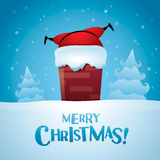 Merry Christmas! Santa stuck. Royalty Free Stock Image