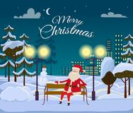 Merry Christmas from Santa Among White Snowy Field. Merry Christmas from Santa among forest and white field on night city background. He is sitting on wooden Royalty Free Stock Images