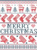 Merry Christmas Scandinavian pattern in Nordic winter and Christmas stitched style, including snowflakes, stars, snow, hearts. Merry Christmas Scandinavian vector illustration