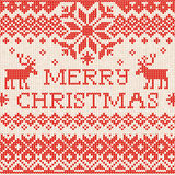 Merry Christmas: Scandinavian or russian style knitted embroider Stock Photos