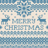 Merry Christmas: Scandinavian or russian style knitted embroider Royalty Free Stock Photography